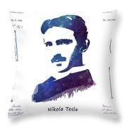 Nikola Tesla Patent Art Electric Arc Lamp Throw Pillow