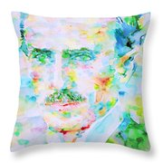 Nikola Tesla Watercolor Portrait Throw Pillow