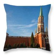 Nikolskaya - St. Nicholas - Tower Of The Kremlin Throw Pillow