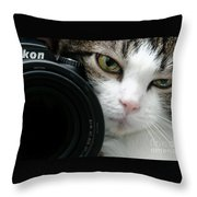 Nikon Kitty Throw Pillow