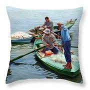 Nile River Fishermen  Throw Pillow