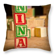Nina - Alphabet Blocks Throw Pillow