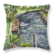 Ninas Back Yard Throw Pillow