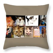 Nine Lives And Mood Swings Throw Pillow