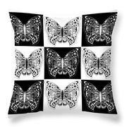 Nine Lives - Black And White Throw Pillow