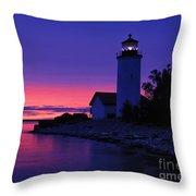 Nine Mile Point Light - Fm000022a Throw Pillow