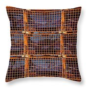 Nine Orange Lobster Traps Throw Pillow by Stuart Litoff