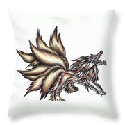 Nine Tails Wolf Demon Throw Pillow