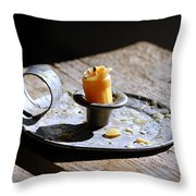 Nineteenth Century Candle And Holder Throw Pillow