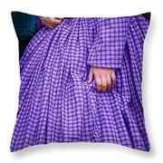 Ninetenth Century Woman In Purple Throw Pillow