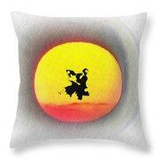 Ninja Duel In The Sun Throw Pillow
