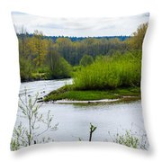 Nisqually River From The Nisqually National Wildlife Refuge Throw Pillow