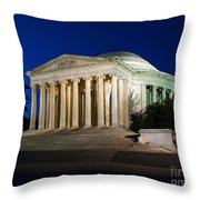Nite At The Jefferson Memorial Throw Pillow