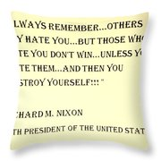 Nixon Quote In Sepia Throw Pillow