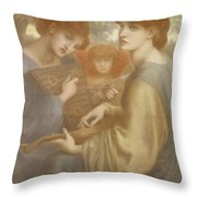 No. 1011 Study For The Bower Meadow Throw Pillow by Dante Gabriel Charles Rossetti