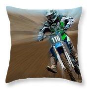 Motorcross No. 116 Throw Pillow