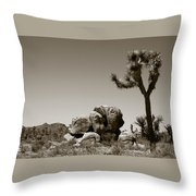 Joshua Tree National Park Landscape No 4 In Sepia  Throw Pillow