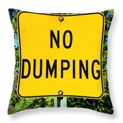 No Dumping Sign Throw Pillow