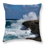 No Fishermen - Fun Sport At Laie Point Oahu North Shore Hawaii Throw Pillow