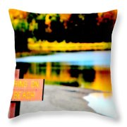 No Fishing On Swim Beach Throw Pillow