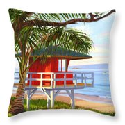No Guard On Duty - Kamaole Beach Throw Pillow
