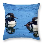 Male Hooded Merganser Pair Throw Pillow