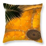 Sunshine Yellow Silk Decor With Stars Throw Pillow