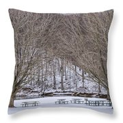 Snowy Picnic Ground In Winter Throw Pillow