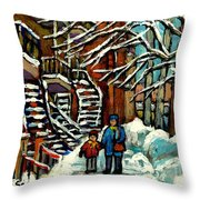 No School Today Out For A Snowy Walk Verdun Winter Winding Staircases Montreal Paintings C Spandau Throw Pillow