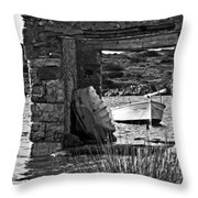 Vintage Boat Framed In Nature Of Minorca Island - Waiting  Throw Pillow