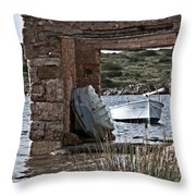Vintage Boat Framed In Nature Of Minorca Island - Hide And Seek Throw Pillow