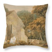 No.0735 A Country Churchyard, C.1797-98 Throw Pillow