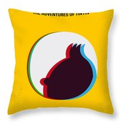 No096 My Tintin-3d Minimal Movie Poster Throw Pillow by Chungkong Art