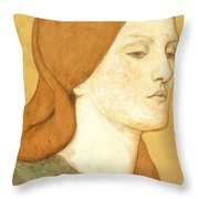 No.1575 Head Of A Girl In A Green Dress Throw Pillow
