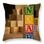 Noah - Alphabet Blocks Throw Pillow