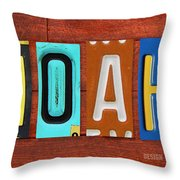 Noah License Plate Name Sign Fun Kid Room Decor. Throw Pillow