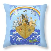 Noah's Ark Throw Pillow by Alison Stein