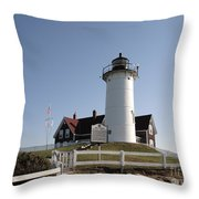 Nobska Lighthouse On Cape Cod At Woods Hole Massachusetts Throw Pillow