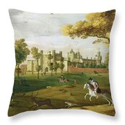 Nonsuch Palace In The Time Of King Throw Pillow