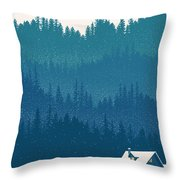Nordic Ski Scene Throw Pillow