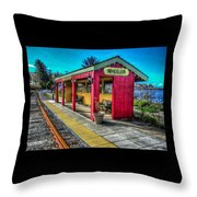 Norm Laknes Train Station Throw Pillow