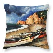Normandy Coast - Landscape Oil Throw Pillow