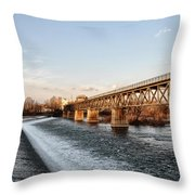 Norristown Dam And Railroad Bridge Throw Pillow