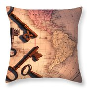 North America And Old Keys Throw Pillow
