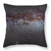 North America Nebula The Milky Way From Cygnus To Perseus And Andromeda Galaxy Throw Pillow