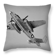 North American B-25 Mitchell Bw Throw Pillow