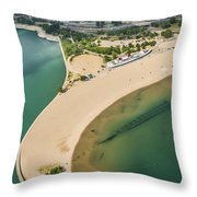 North Avenue Beach And Castaways Restaurant Throw Pillow