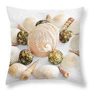 North Carolina Circle Of Sea Shells Throw Pillow