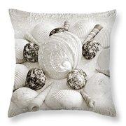 North Carolina Circle Of Sea Shells Bw Throw Pillow