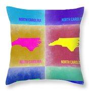North Carolina Pop Art Map 2 Throw Pillow